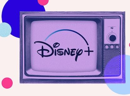 Disney+'s logo on a TV set
