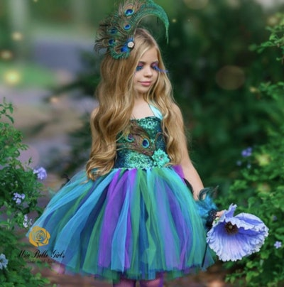 Girl wearing a peacock fairy costume