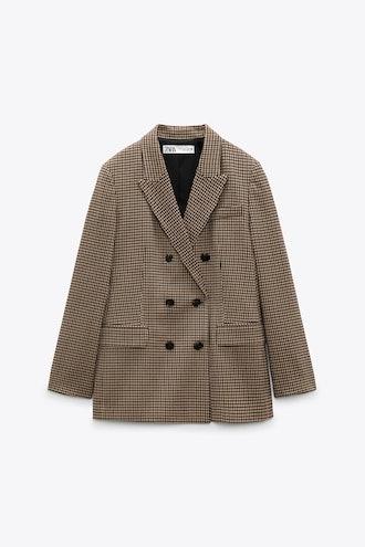 Straight Cut Double Breasted Blazer Zara