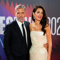 George and Amal Clooney attend 'The Tender Bar' premiere in London.