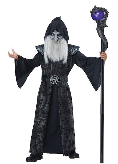 Boy wearing a dark wizard costume
