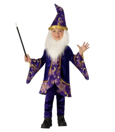 Toddler wearing a wizard costume