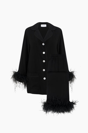 Party Pajamas Set with Double Feathers in Black from Sleeper.