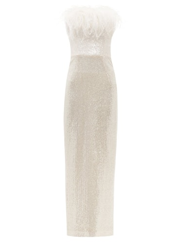 Jorja Feather-Trim Sequined Gown from 16ARLINGTON.