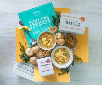 product image of soup, rolls, and cookies for new parents in care package