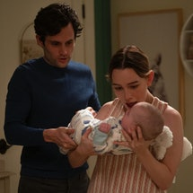 Penn Badgely and Victoria Pedretti in 'You' Season 3.