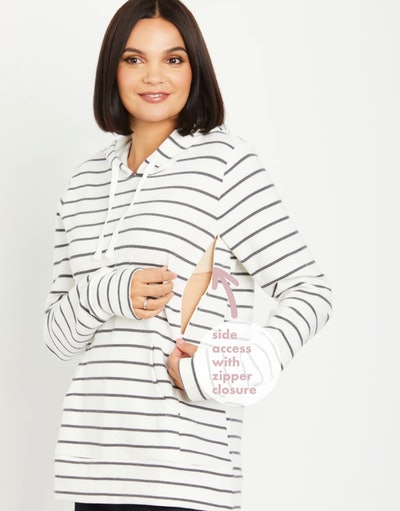striped french terry hoodie with a zipper for nursing access