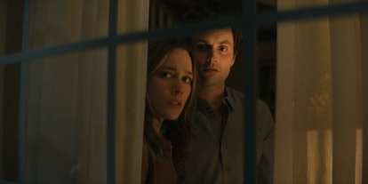PENN BADGLEY as JOE GOLDBERG and VICTORIA PEDRETTI as LOVE QUINN on Netflix's 'You' Season 3