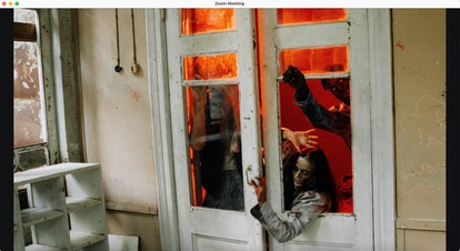 Haunted house zoom background: zombie break-in