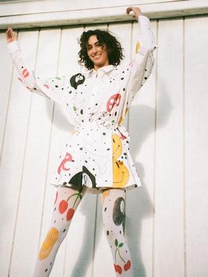Birthday Girl Shop custom button up, skirt, and tights for Ian Charms