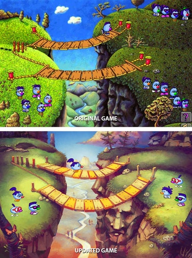 Before and after screenshots of the Zoombinis game