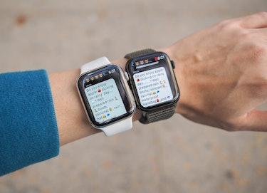 My Apple Watch Series 4 (left) vs. Series 7 (right).