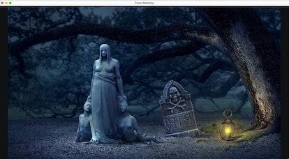 Haunted house zoom background: graveyard