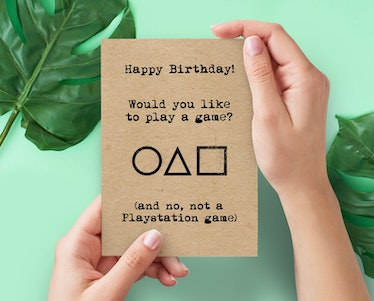 This 'Squid Game' birthday card on Etsy looks like the card from the Netflix series.