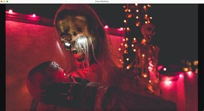 Haunted house zoom background: scary skeleton