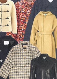 a colorful collage of fall jackets and coats