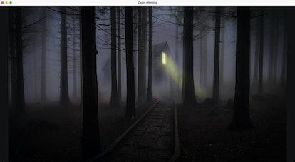 Haunted house zoom background: foggy mist