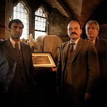 Nisbet (NIKESH PATEL), Williams (RORY KINNEAR), Garwood (ROBERT BATHURST) in BBC Two's 'The Mezzotin...