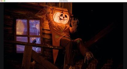 Haunted house zoom background: jack-o-lantern