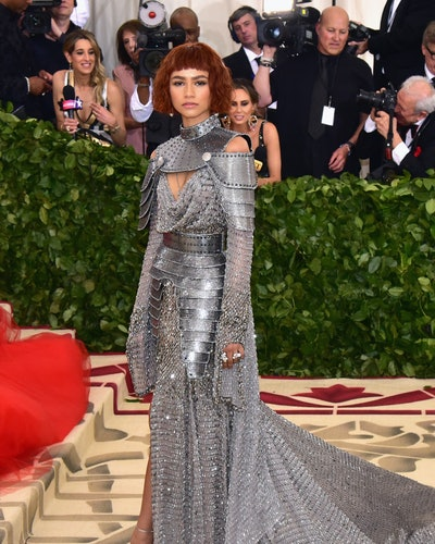 Zendaya on the 2018 Met Gala red carpet in a Joan of Arc-inspired gown.