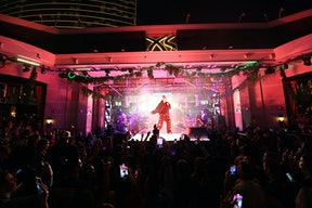Justin Bieber performs at Justin Bieber & Friends, The Vegas Weekender event from Pollen Presents at...