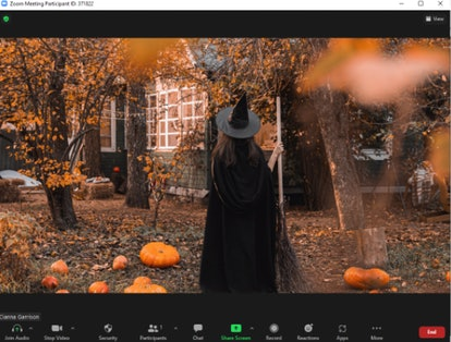 These Halloween Zoom backgrounds include a spooky witch.