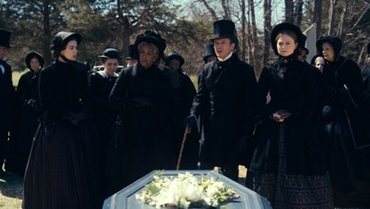 Hailee Steinfeld, Jane Krakowski, Toby Huss and Anna Baryshnikov in 'Dickinson' Season 3