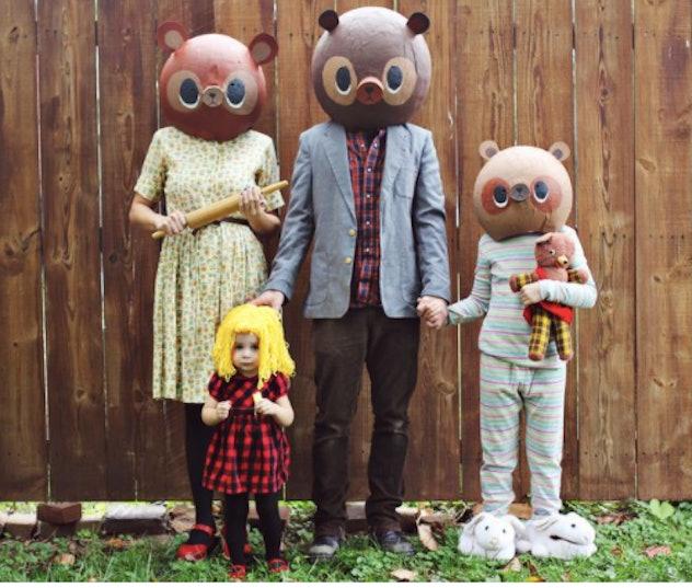 Homemade masks of Goldilocks and the 3 bears