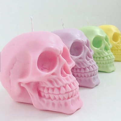 pastel skull candles, large, available in pink purple green or yellow