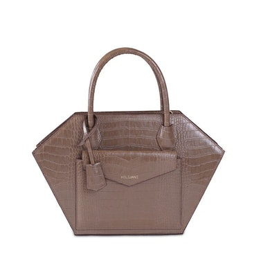 HELEJANÉ's brown croc luggage mini bag.
