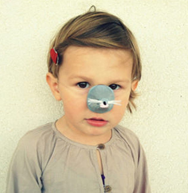 Mouse nose mask on child