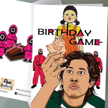 This is just one of many 'Squid Game' birthday cards on Etsy.