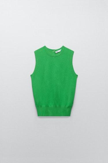 Sleeveless Knit Top in Green from Zara.