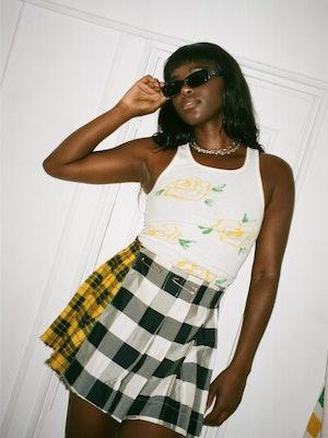 Birthday Girl Shop yellow rose tank and plaid skirt