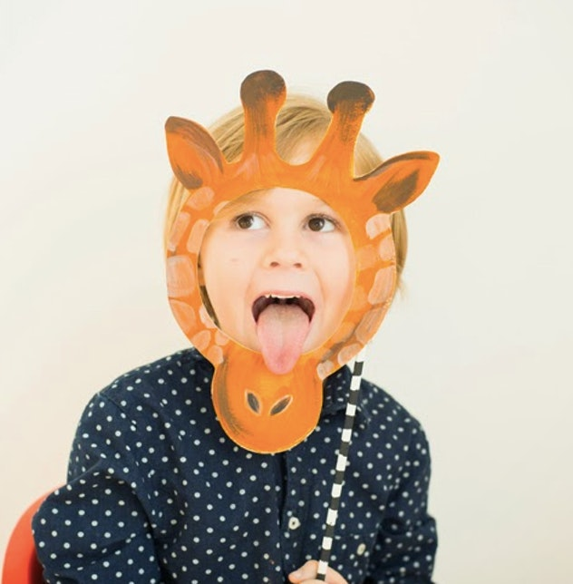 Child wearing a homemade giraffe mask