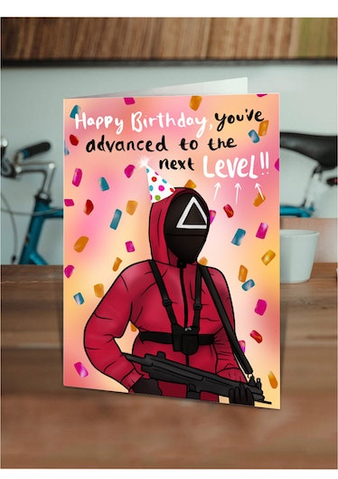 This game security card is just one of many 'Squid Game' birthday cards on Etsy.