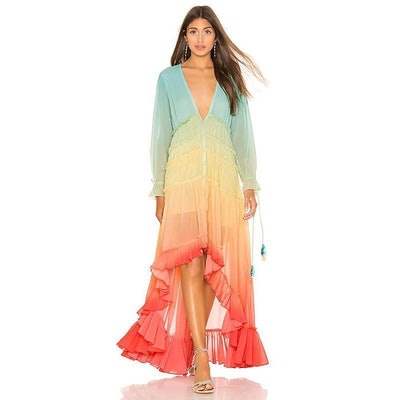 rainbow tiered flowy dress