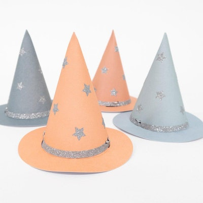Halloween witch party hats in pastel colors
