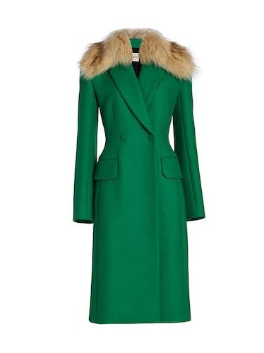 Finna green wool coat from Khaite.