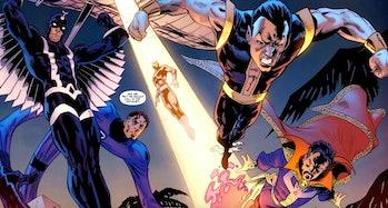 The Illuminati soaring through the air in Iron Man: Legacy Vol. 1 #10