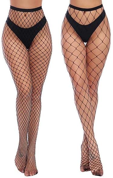 Charmnight High-Waisted Fishnet Stockings (2-Pack)