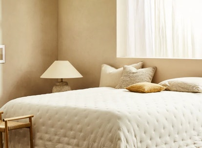 The 'Soft Touch Quilt' on display is part of Zara's home decor line.