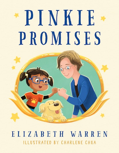 The cover of Pinkie Promises, a cartoon illustration of Senator Warren in a blue suit jacket making ...