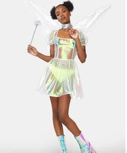 woman in sheer fairy costume