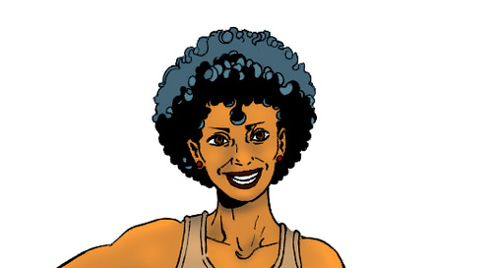 """A biracial girl with a short afro and wearing a shirt that reads """"ally"""" stands with her hand on her ..."""
