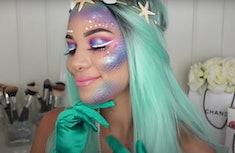 Profile of a woman modeling mermaid makeup