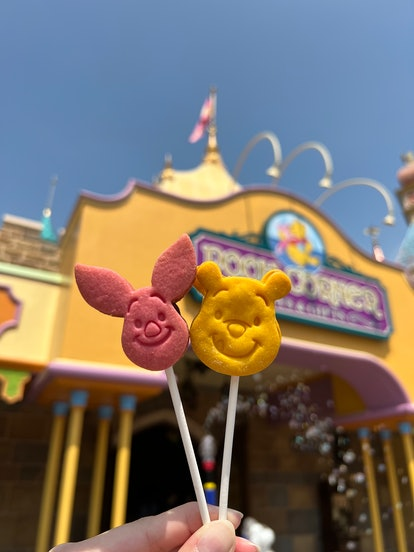 At Hong Kong Disneyland, you can enjoy some Disney Parks' Winnie the Pooh food like these cookie lol...