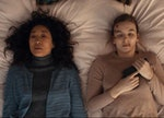 """Villanelle (Jodie Comer) and Eve (Sandra Oh) in the season 1 finale of """"Killing Eve"""" on BBC."""
