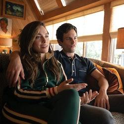 Victoria Pedretti as Love Quinn and Penn Badgley as Joe Goldberg in 'YOU' on Netflix.