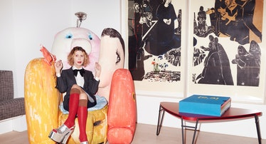Valeria Napoleone, on Gaetano Pesce's Gli Amici (The Friends) sofa, with (from left) Andrea Büttner'...